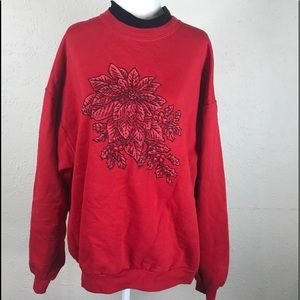 Vintage 80s ugly Christmas sweater beaded large